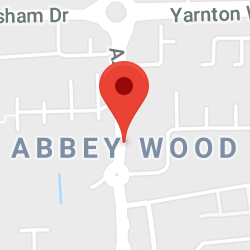 Cropped Google Map with pin over Abbey Wood