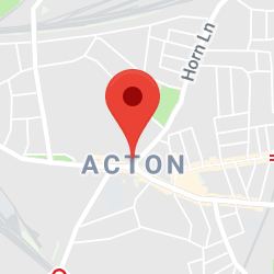 Cropped Google Map with pin over Acton
