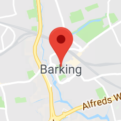 Cropped Google Map with pin over Barking