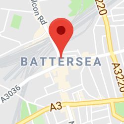 Cropped Google Map with pin over Battersea