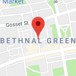 Cropped Google Map with pin over Bethnal Green
