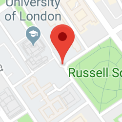 Cropped Google Map with pin over Bloomsbury