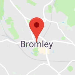 Cropped Google Map with pin over Bromley