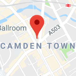Cropped Google Map with pin over Camden Town