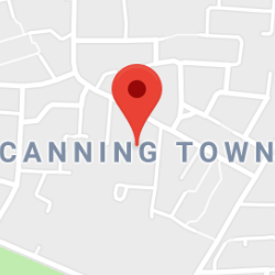 Cropped Google Map with pin over Canning Town