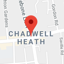 Cropped Google Map with pin over Chadwell Heath
