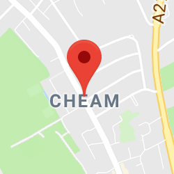 Cropped Google Map with pin over Cheam
