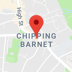 Cropped Google Map with pin over Chipping Barnet