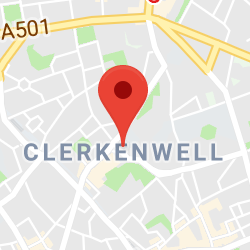 Cropped Google Map with pin over Clerkenwell