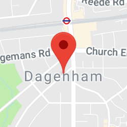 Cropped Google Map with pin over Dagenham
