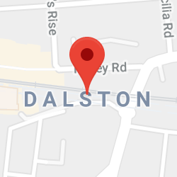 Cropped Google Map with pin over Dalston