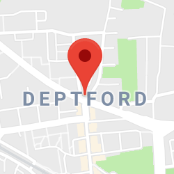 Cropped Google Map with pin over Deptford