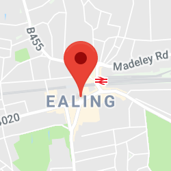 Cropped Google Map with pin over Ealing