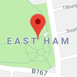 Cropped Google Map with pin over East Ham