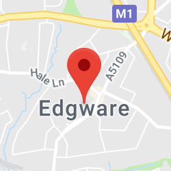 Cropped Google Map with pin over Edgware