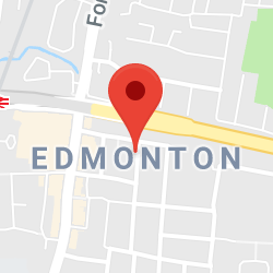 Cropped Google Map with pin over Edmonton