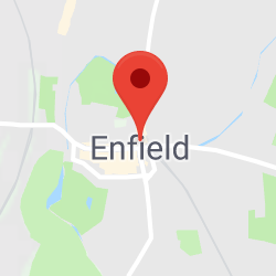 Cropped Google Map with pin over Enfield Town