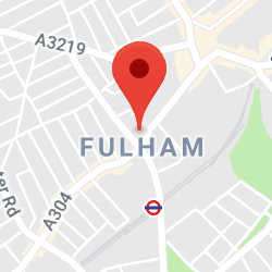 Cropped Google Map with pin over Fulham