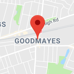 Cropped Google Map with pin over Goodmayes