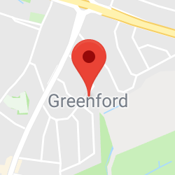 Cropped Google Map with pin over Greenford