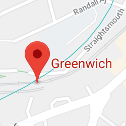 Cropped Google Map with pin over Greenwich