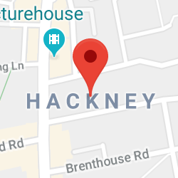 Cropped Google Map with pin over Hackney Central