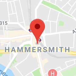 Cropped Google Map with pin over Hammersmith