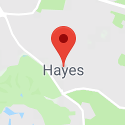Cropped Google Map with pin over Hayes
