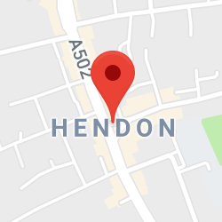 Cropped Google Map with pin over Hendon