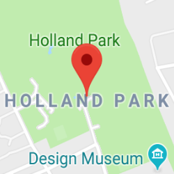 Cropped Google Map with pin over Holland Park