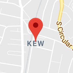 Cropped Google Map with pin over Kew
