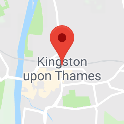 Cropped Google Map with pin over Kingston upon Thames