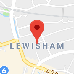 Cropped Google Map with pin over Lewisham