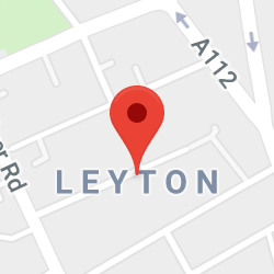 Cropped Google Map with pin over Leyton