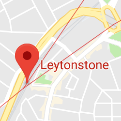 Cropped Google Map with pin over Leytonstone