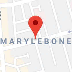 Cropped Google Map with pin over Marylebone