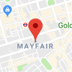 Cropped Google Map with pin over Mayfair