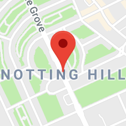 Cropped Google Map with pin over Notting Hill