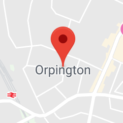 Cropped Google Map with pin over Orpington