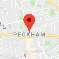 Cropped Google Map with pin over Peckham