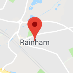 Cropped Google Map with pin over Rainham