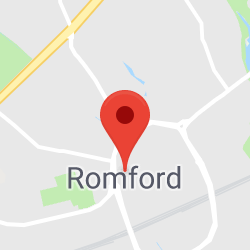 Cropped Google Map with pin over Romford