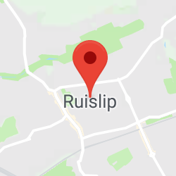 Cropped Google Map with pin over Ruislip