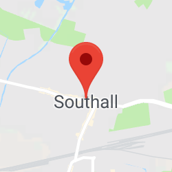 Cropped Google Map with pin over Southall