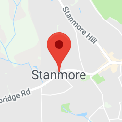 Cropped Google Map with pin over Stanmore