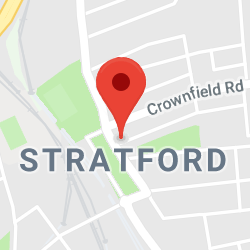 Cropped Google Map with pin over Stratford