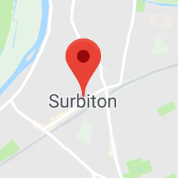 Cropped Google Map with pin over Surbiton