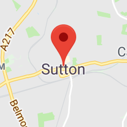 Cropped Google Map with pin over Sutton