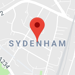 Cropped Google Map with pin over Sydenham