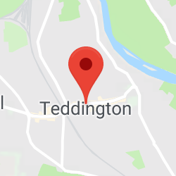 Cropped Google Map with pin over Teddington